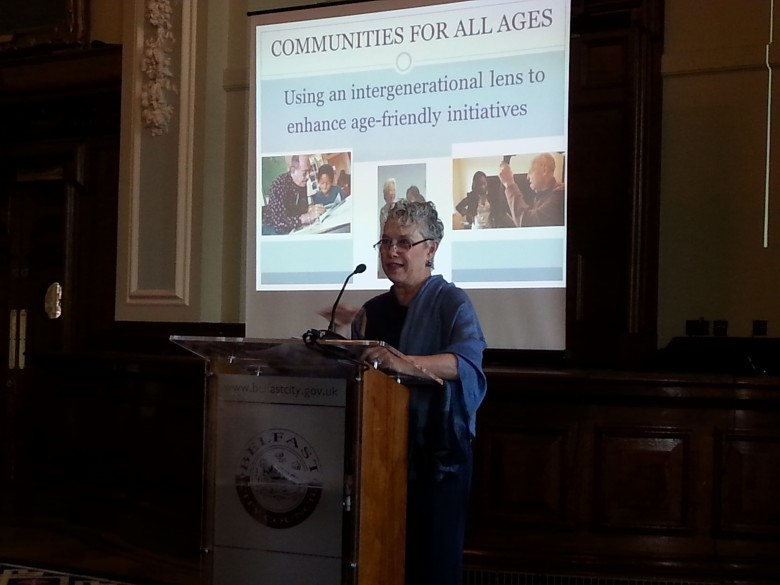 Nancy Henkin, Temple University, Philadelphia talking at Northern Ireland's age-friendly event in Belfast (7th October)