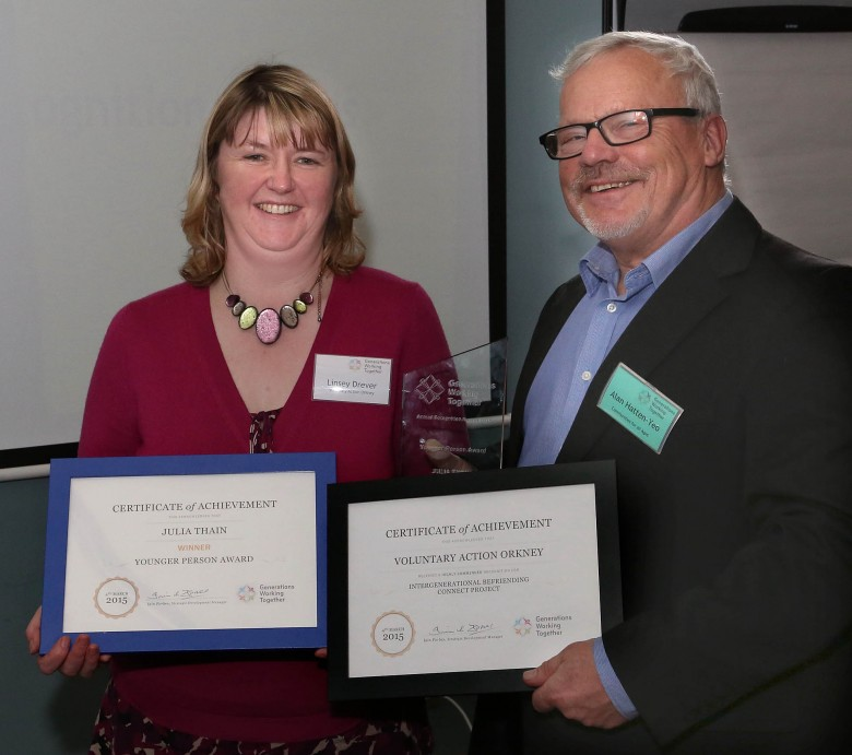Lynsey Drever,Voluntary Action Orkney picks up the award on behalf of Julia Thain who won GWT's Younger Person Award