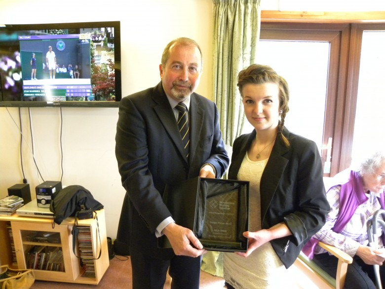 Cllr John Richards presented Julia Thain from Orkney with her GWT Young Person Award recognising her outstanding contribution to intergenerational work